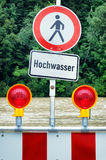 Powódź znak ostrzegawczy Obrazy Stock