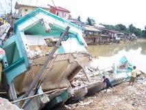 powódź zniszczony dom Fotografia Royalty Free