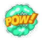 Pow, εικονίδιο φυσαλίδων έκρηξης, λαϊκό ύφος τέχνης Στοκ Εικόνες