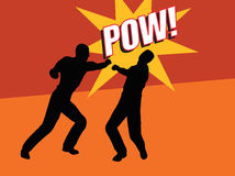 Pow!. Two men fighting - one punching the other vector illustration