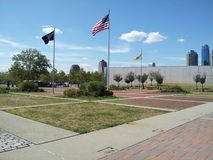 POW, American, and NJ State flags flying at Liberty State Park, NJ Stock Photography