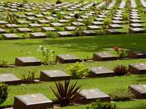 POW Cemetery, Kanchanaburi. The Kanchanaburi War Cemetery is the main POW cemetery associated with victims of the Burma Railway. It is located in the town of Stock Image