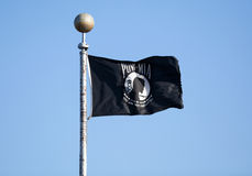 POW MIA Flag. Prisioner of War Missing in Action POW MIA black flag stock image