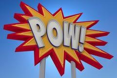 POW! Neontecken för solid effekt Royaltyfria Foton