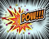 pow Retro komisk anförandebubbla för vektor, tecknad filmkomikermall Modell av bokdesignbeståndsdelar Solida effekter som är kulö royaltyfri illustrationer