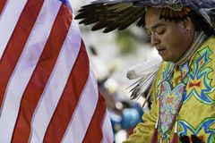 Pow Wow 10. 3-11-07 Cal State Long Beach Annual Pow Wow. Raising the flag. Honoring Indian veterans royalty free stock photos