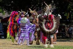 Pow Wow. Event: 37th Annual Inter-Tribal Powwow, 02.X.11 Location: Thomas Square, Honolulu, on the island of O'ahu, Hawai'i, USA Subject: Pow Wow dancers talking royalty free stock photo