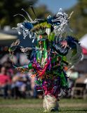 Pow Wow Dancer. Participants dancing Native American style at the Stillwater Pow Wow in Anderson, California stock photo