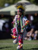 Pow Wow Dancer. Participants dancing Native American style at the Stillwater Pow Wow in Anderson, California royalty free stock photo