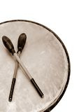 Pow Wow Drum. Close-up of the top of a wood drum with mallets in sepia Royalty Free Stock Photos