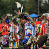 Pow wow man dancer with eagle staff Stock Photography