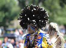 Pow wow man dancer with large head dress Stock Image