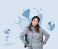 Poważna ładna brunetka jest ubranym zimę odziewa pozować Obraz Royalty Free