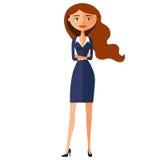 Poważna śliczna biznesowa dziewczyna Skupiająca się biznesowej kobiety kreskówki wektoru płaska ilustracja Fotografia Stock