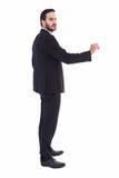 Poważna biznesmen pozycja z rękami podnosić Obraz Royalty Free