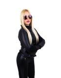 Poważna blond dziewczyna z okularami przeciwsłonecznymi Fotografia Stock