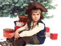 Poważna chłopiec w zadzierającym kapeluszu Obraz Stock