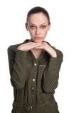 Poważna młoda piękna kobieta, odizolowywająca zdjęcia royalty free