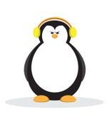 Poważna pingwin kreskówka z żółtym hełmofonem Obrazy Royalty Free