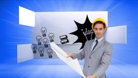 Poważny architekt z ciężkiego kapeluszu mienia planami Zdjęcie Royalty Free