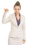 Poważny biznesowej kobiety seans wydostawał się gest Fotografia Stock
