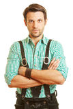 Poważny mężczyzna w rzemiennych spodniach Obraz Royalty Free