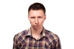 Poważny mężczyzna w szkockiej kraty koszula Zdjęcie Royalty Free