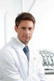 Poważny Męski dentysta W klinice Obraz Royalty Free