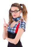 Poważny nauczyciel odizolowywający na bielu Fotografia Royalty Free