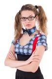 Poważny nauczyciel odizolowywający na bielu Fotografia Stock