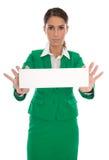 Poważna odosobniona biznesowa kobieta w zielonym mienia forum dyskusyjnym ja Obrazy Royalty Free