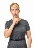 Poważny bizneswoman Robi gestowi Shhh Zdjęcie Stock