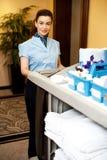 Powabna żeńska wykonawcza mienia toiletries fura Obraz Stock