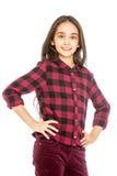 Powabna długowłosa dziewczyna w szkockiej kraty koszula i zdjęcie royalty free