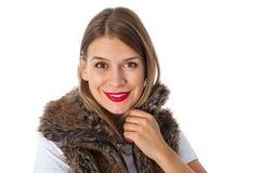 Powabna dama z futerkową kamizelką Zdjęcie Royalty Free