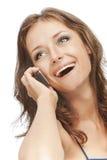 Powabna dziewczyna mówi telefonem Obrazy Stock