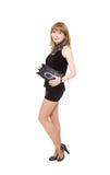 Powabna dziewczyna w czarnej krótkiej sukni Fotografia Royalty Free