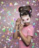 Powabna kobieta z kot maską Zdjęcia Royalty Free