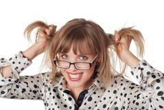 Powabna młoda blondynka odizolowywająca na bielu fotografia royalty free