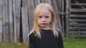 Powabna małej dziewczynki blondynka pozuje na ciepłym letnim dniu zbiory wideo