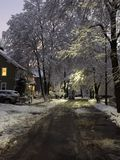 Powabna zimy ulica Zdjęcia Royalty Free