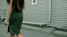 Powabny młodej damy odprowadzenia puszek ulica w sukni z seksowni round pośladki zbiory