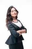 Poważna bizneswoman pozycja z rękami składać Zdjęcia Stock
