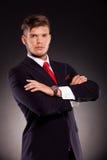 Poważne biznesowego mężczyzna ręki krzyżować Zdjęcia Stock