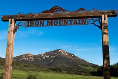 Close-Up of Signage at Entrance to Iron Mountain Trail. POWAY, CALIFORNIA - MARCH 16, 2017:  Close-up of the signage at the entrance to the Iron Mountain trail Stock Photo