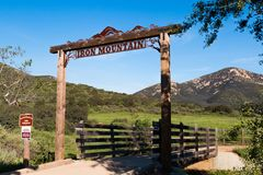 Iron Mountain Trailhead in San Diego County. POWAY, CALIFORNIA - MARCH 16, 2017: The Iron Mountain trailhead for a popular looped trail, 5. 6 miles long, and of royalty free stock photography