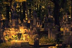 Powazki Cemetery. The Powazki Cemetery in Warsaw. Autumn background. Shallow depth of field Stock Image