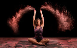 Powder. Artistic dance pose using powder Royalty Free Stock Images