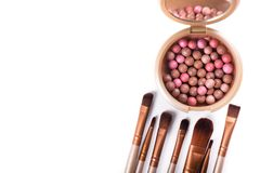 Powder balls and cosmetic brush isolated. On white background. makeup product Stock Photos