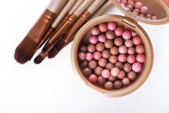 Powder balls and cosmetic brush isolated. On white background. makeup product Stock Photo